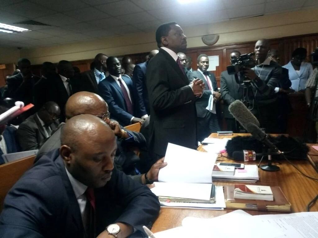 Miguna Miguna's lawyers presenting him at Milimani Law Courts
