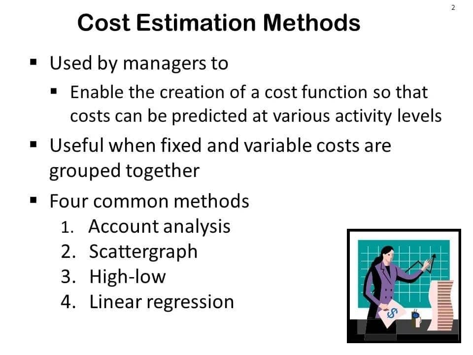 Cost estimation methods in managerial accounting Methods of cost estimation in accounting Describe cost estimation methods
