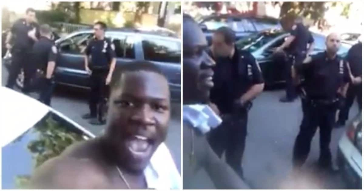 The man took the video with the police in the background. Photos: Facebook/Mediatakeout