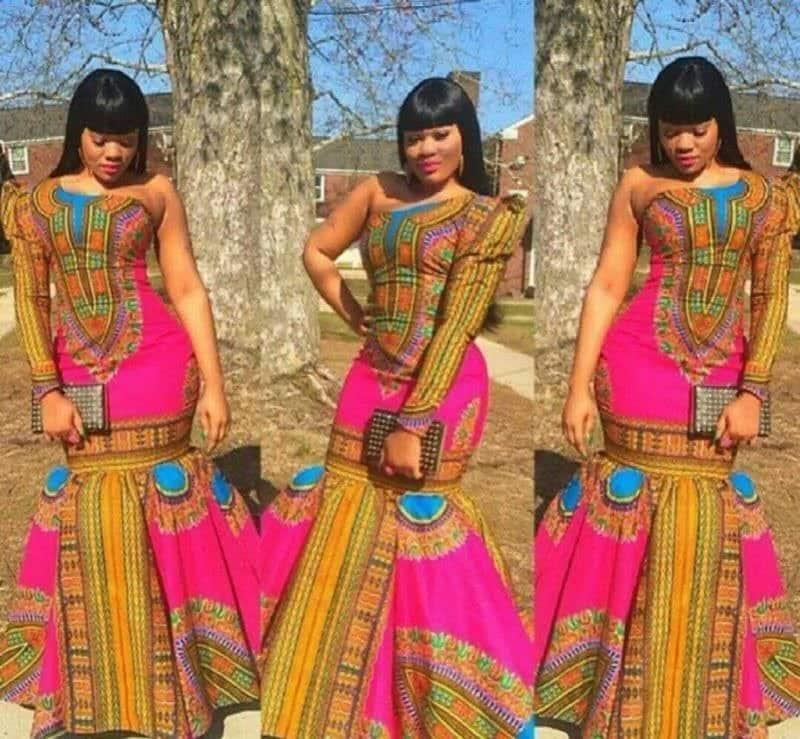 Long-sleeved dashiki dress designs