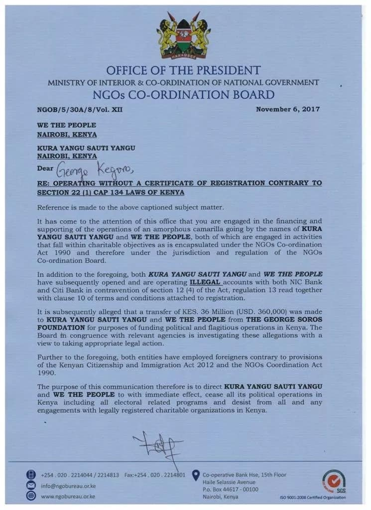 Government de-registers organisations that dismissed Uhuru's win in repeat election