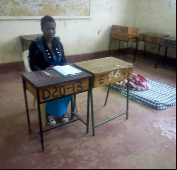 21-year-old girl forced to bring a matress to class to lay down her baby as she sits for her KCSE