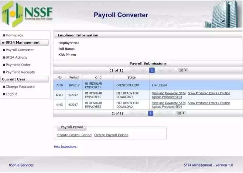Nssf self service resources Nssf Kenya self service payment Nssf self service registration Self service nssf ke payroll payment processing Nssf payroll template