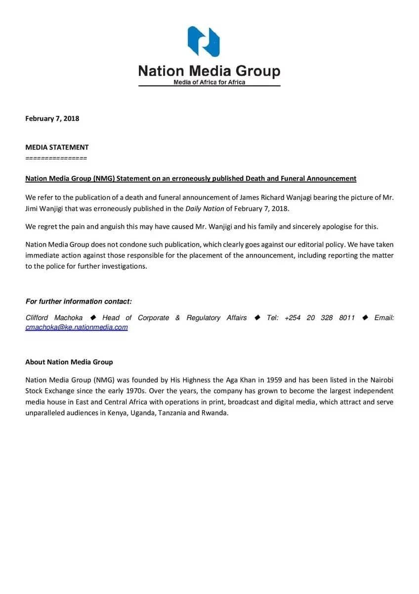 Nation Media Group apologises for announcing death of NASA billionaire Jimmy Wanjigi