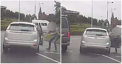 Road madness! Man desperately tries to stop woman who hit his car from driving off but fails