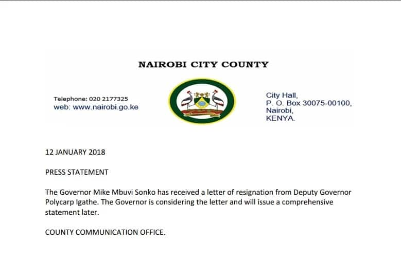 Sonko reacts to Igathe's resignation