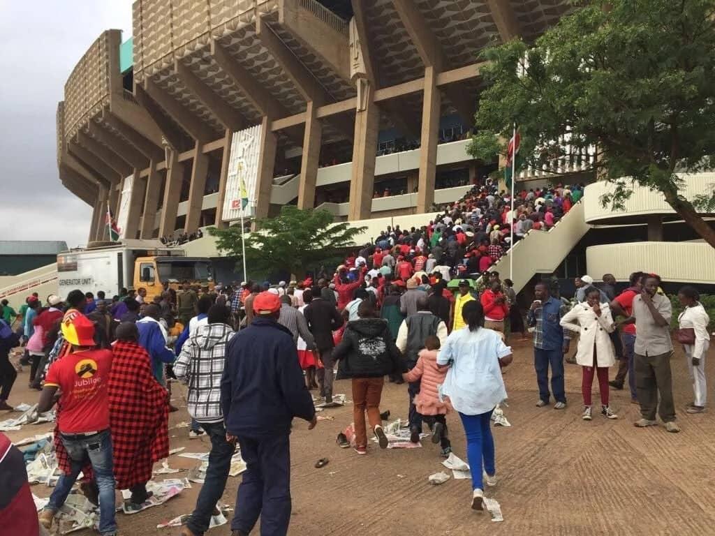 Stampede at Kasarani stadium as crowds attending Uhuru Kenyatta's inauguration break barrier
