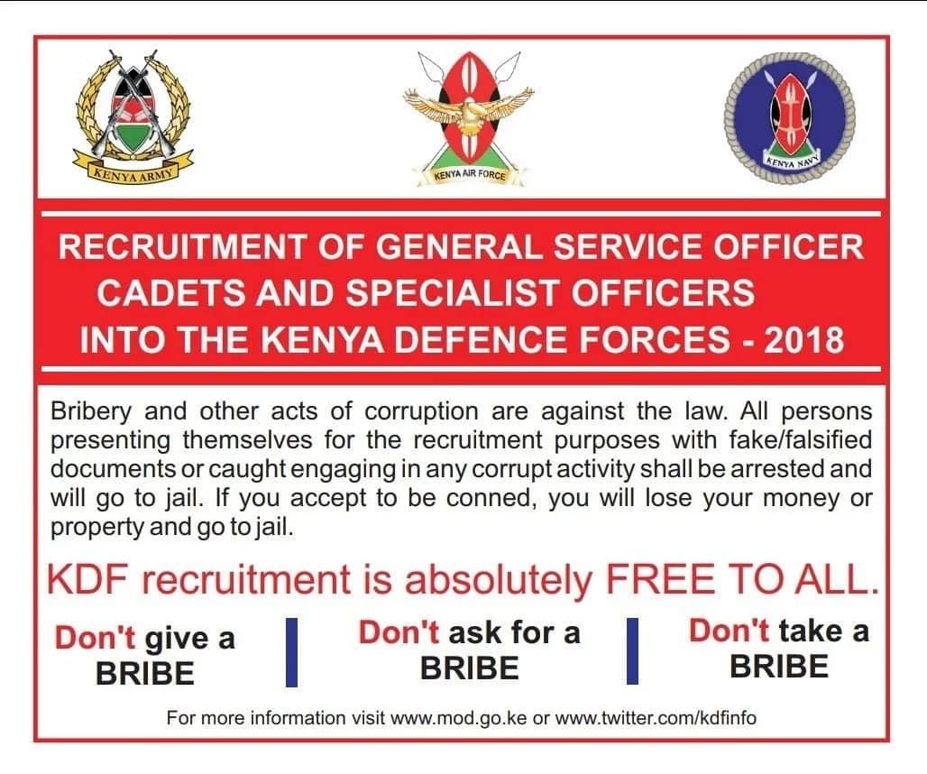 kdf cadet recruitment 2018, kdf cadet application, kdf cadet shortlisting