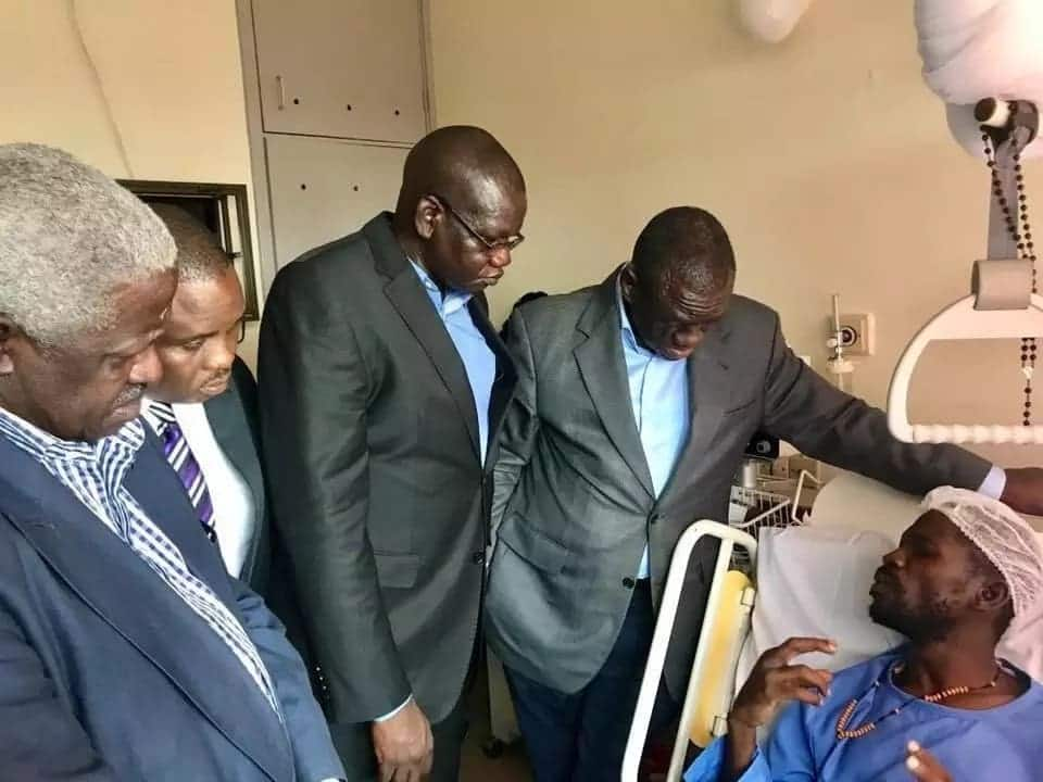 Bobi Wine breaks down after Kizza Besigye visits him in hospital