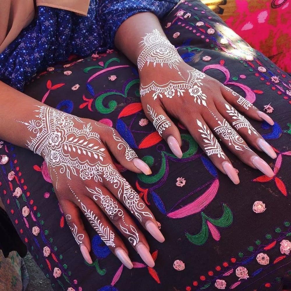 Unique white henna designs for hands