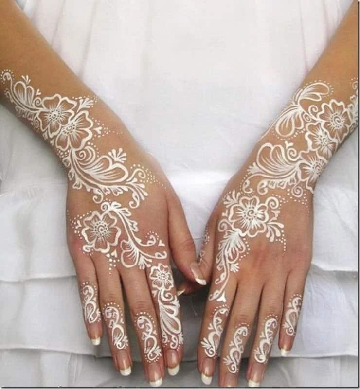 White henna Arabic designs