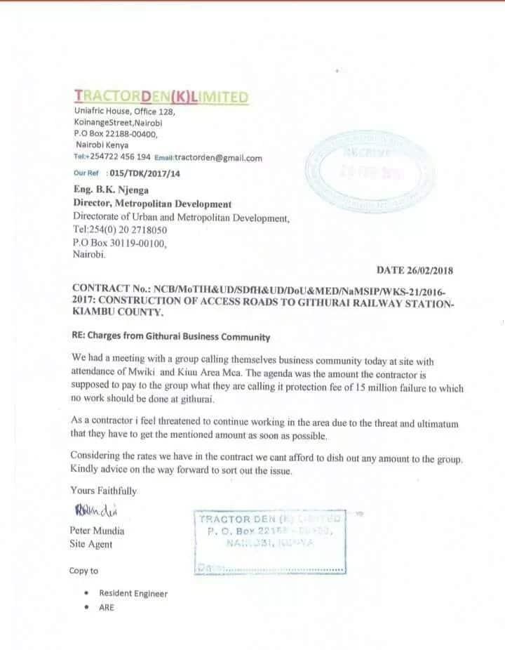 'Genge' la Githurai lilikwamisha mradi wa barabara kwa kudai KSh 15 milioni