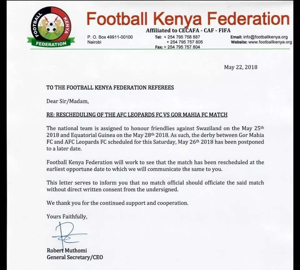 FKF bans referees from officiating anticipated Mashemeji derby as fight with Gor Mahia, AFC leopards intensifies