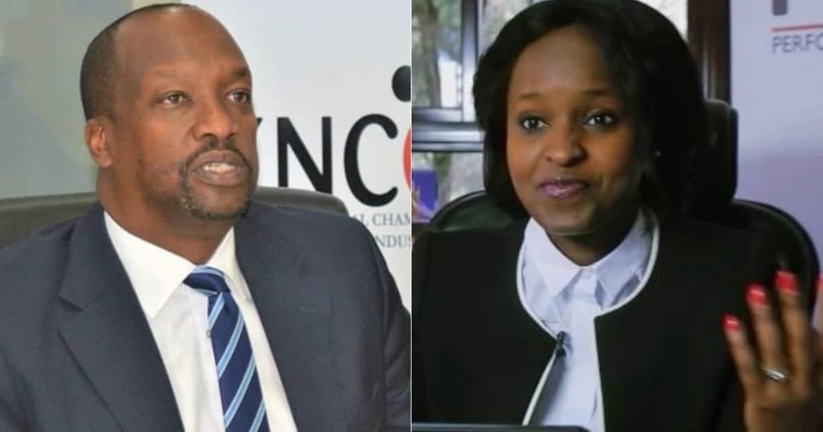 KNCCI Chairman Kiprono Kittony (left) and now former KNCCI CEO Angela Ndambuki.