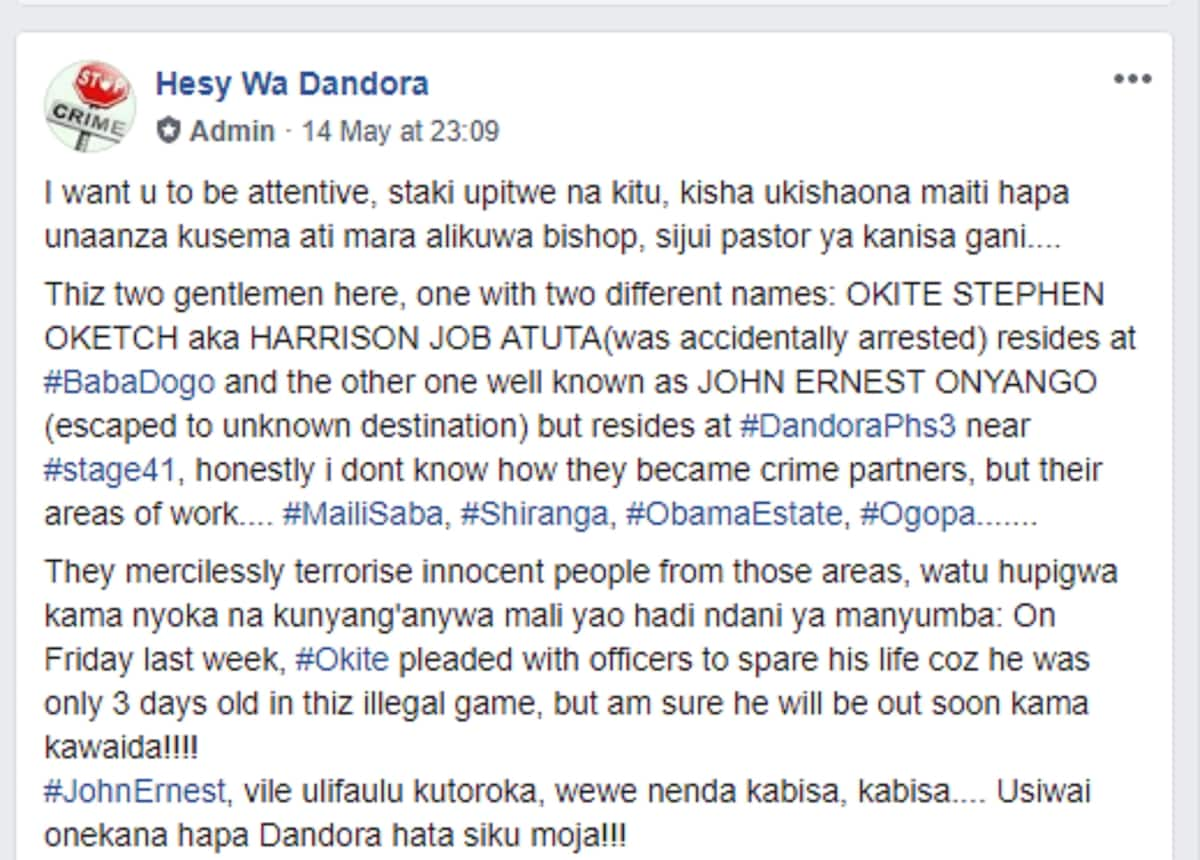 Dreaded Hessy puts Dandora pastor on hit list as one pleads for mercy
