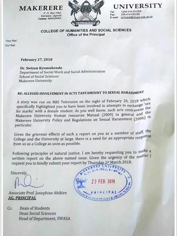 Mwalimu Makerere anaswa 'live' akila uroda na mwanafunzi wake