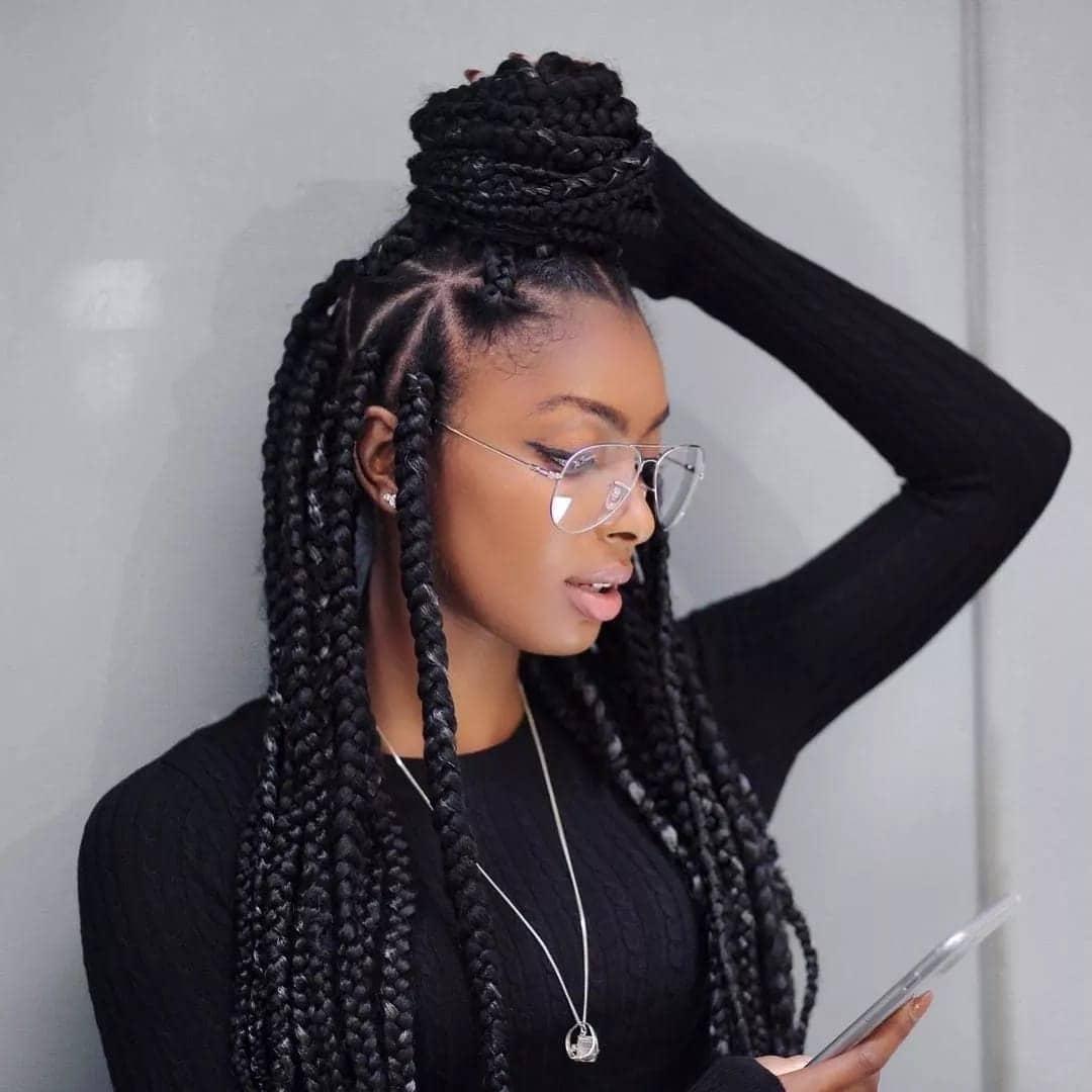 Latest big box braids hairstyles short big box braids how to style big box braids rubber band method big box braids