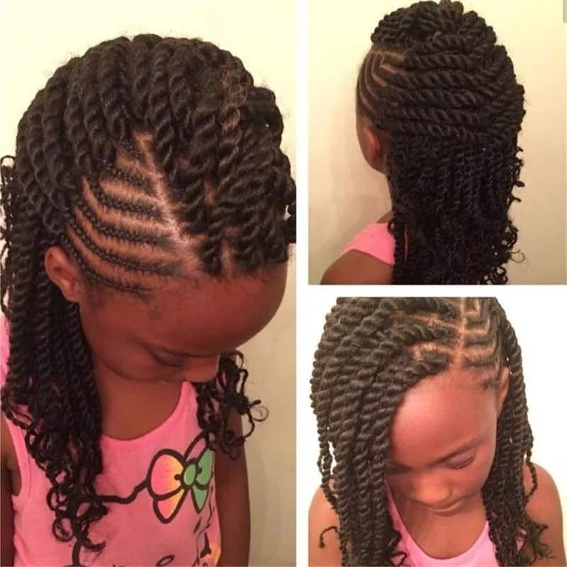 Box braids with lines for kids