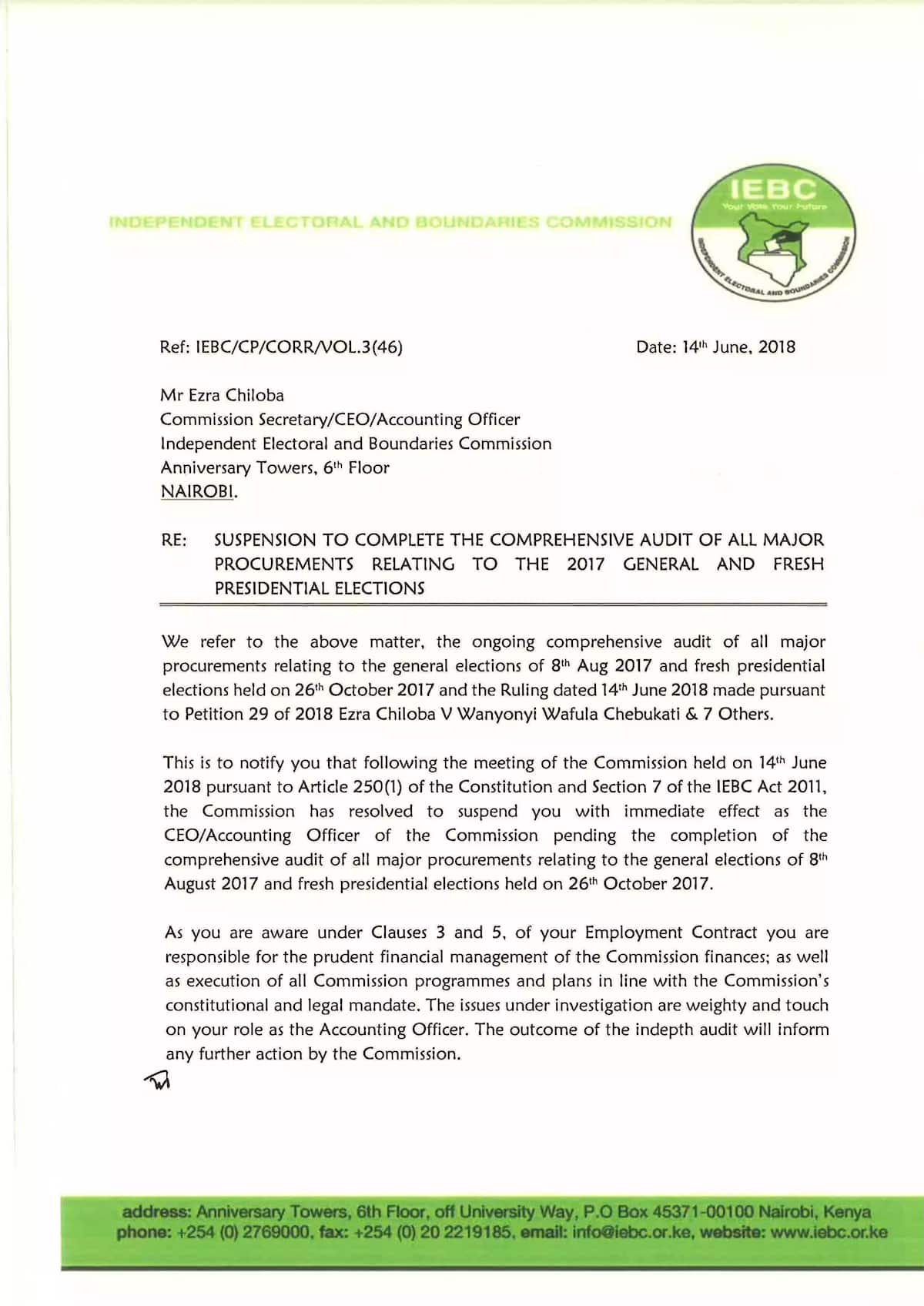 IEBC chair Chebukati suspends Chiloba again, hours after resuming office