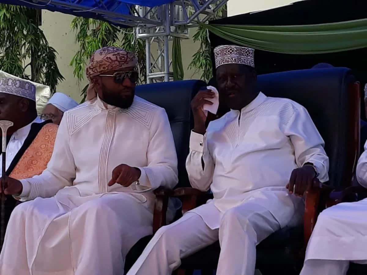 Opposition leader Raila Odinga (right) and Governor Ali Hassan Joho during Eid Baraza in Mombasa on Sunday, June 17.