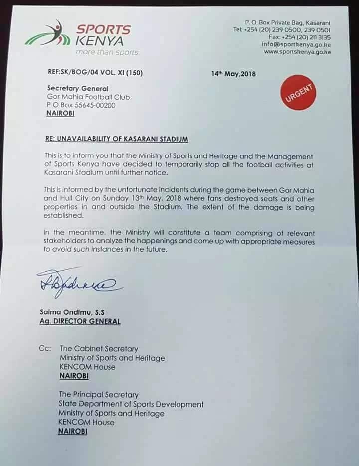 Gor Mahia allowed to use Kasarani stadium following ban by Sports Kenya