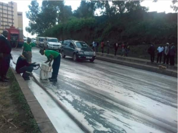 Protesting boda boda operators paralyse transport in Nairobi CBD by pouring used engine oil on roads
