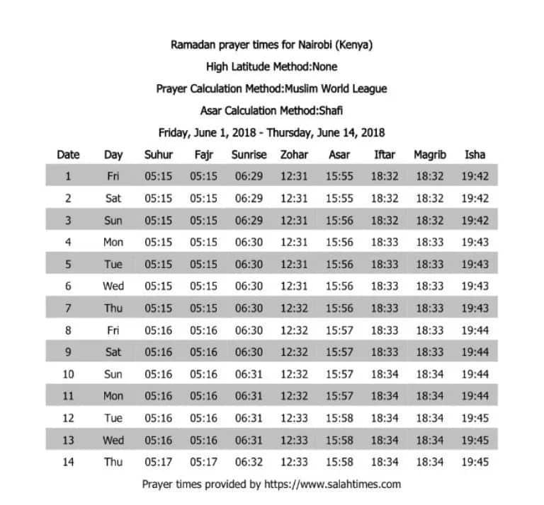 Ramadan calendar 2018 in Kenya