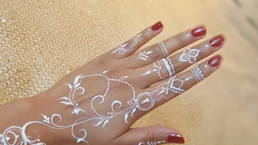 Simple white henna designs
