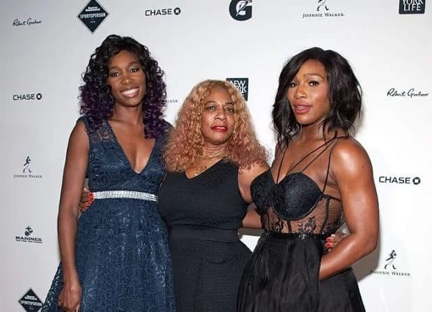 Serena Williams pictured with her mother Oracene (centre) and sister Venus. Photo: FilmMagic