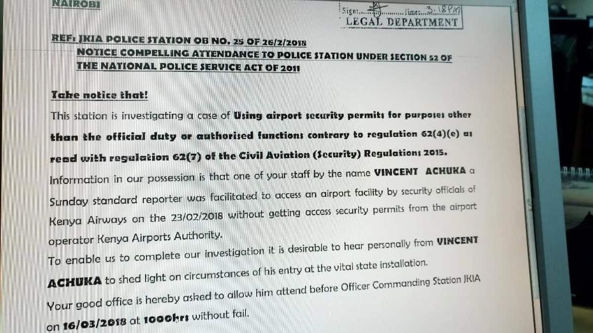 Jomo Kenyatta International Airport police summon Standard Group journalist over security breach