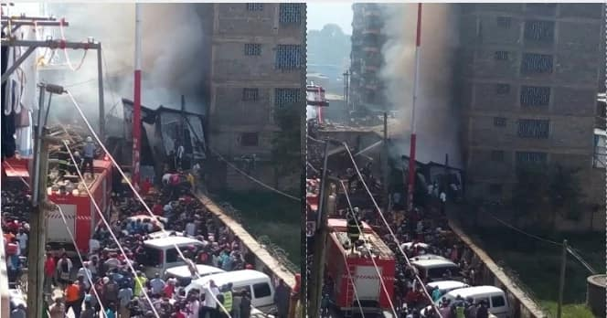 Huge fire engulfs homes, shops in Pipeline estate, Embakasi (photos)