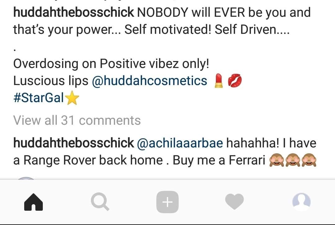 Huddah Munroe asks thirsty man who offered Range Rover to buy Ferrari instead