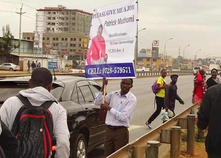 Nairobi man who used placard to get a job quits employment over 20k salary