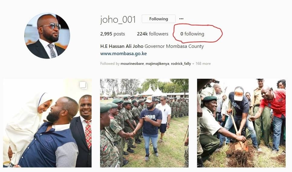 Governor Hassan Joho follows Ali Kiba's foot steps, unfollows everyone on Instagram