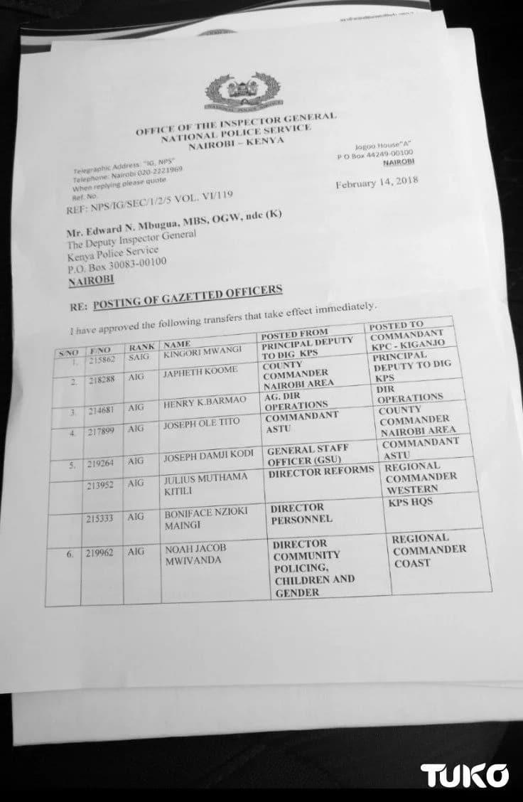 Kamanda wa polisi wa Nairobi Japheth Koome apandishwa cheo kwenye polisi walipewa uhamisho