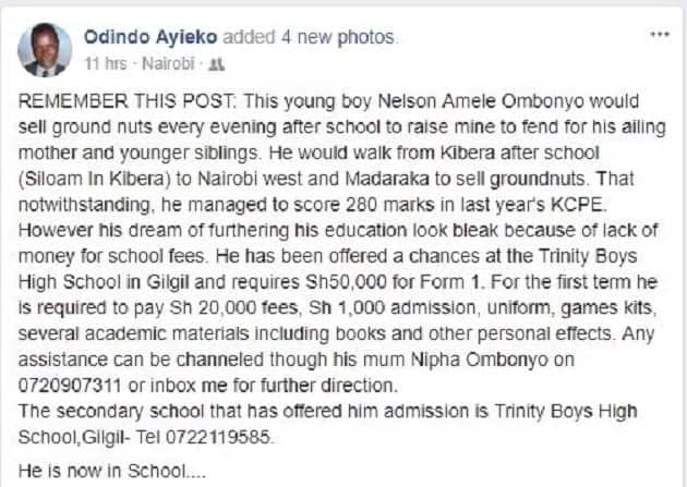 This bright student who sells groundnuts to cater for his family needs your help to go to school