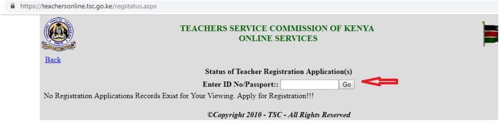 TSC registration status