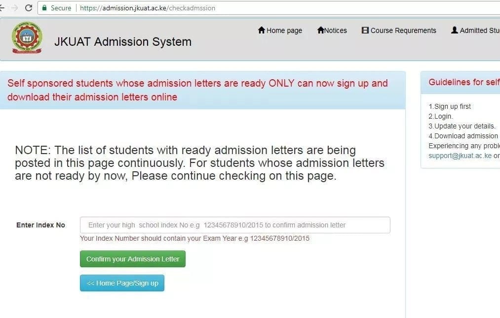 How to download admission letters for jkuat Jkuat students admission letters Kuccps admission letters to jkuat