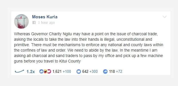 Moses Kuria asks charcaol and sand traders to pick guns from his office before going to Kitui
