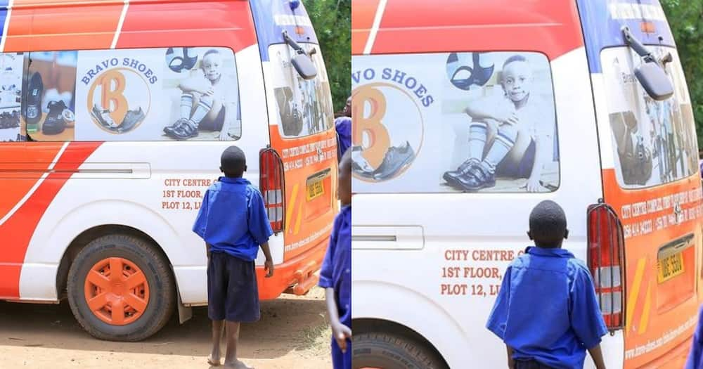 Ugandan company looking for barefooted boy captured in viral photo admiring pupils with shoes