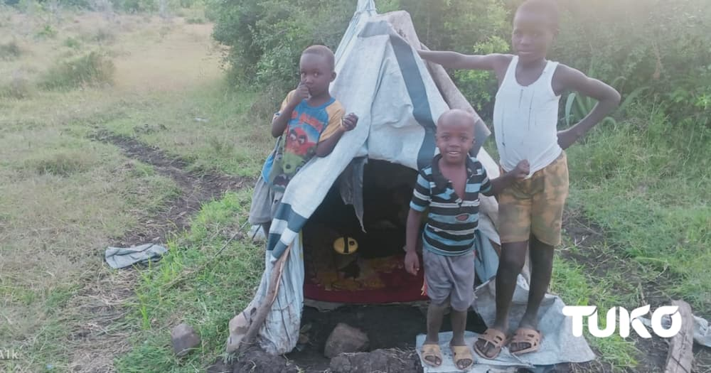 Jackline has been living inside the tent with her children for five years. Photo: Naomi Wandede.