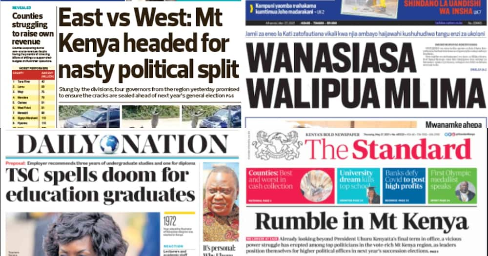 Kenyan newspapers for May 27. Photo: The Standard, Daily Nation, People Daily and Taifa Leo.