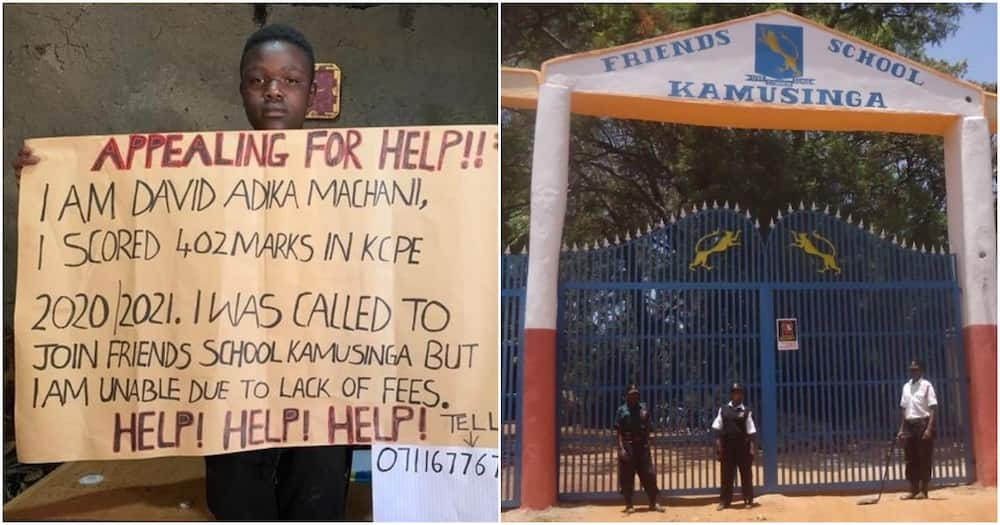 David Adika Machani was called to join The Friends School Kamsinga after scoring 402 marks in KCPE.
