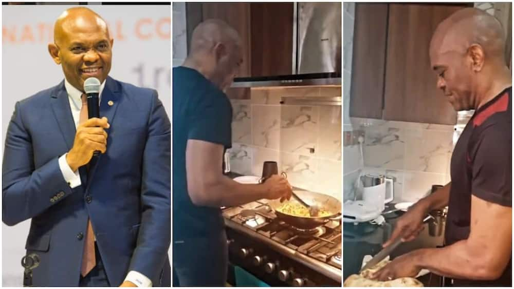 Tony Elumelu made yam and sauce in the video.