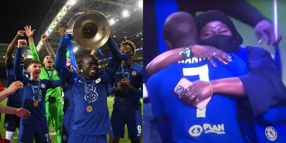 Video of Kante's Mother Crying While Hugging Son After Chelsea's UCL Victory Goes Viral