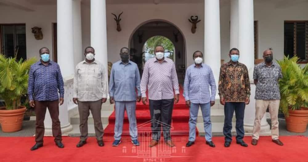 The meeting was attended by Raila Odinga, Musalia Mudavadi Kalonzo Musyoka, Moses Wetangula and Gideon Moi and Wyclife Opranya. State House Kenya.