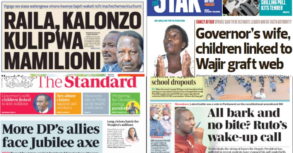 National dailies on Thursday, May 13. Photos: Screengrabs from Daily Nation, Taifa Leo, The Standard and The Star.