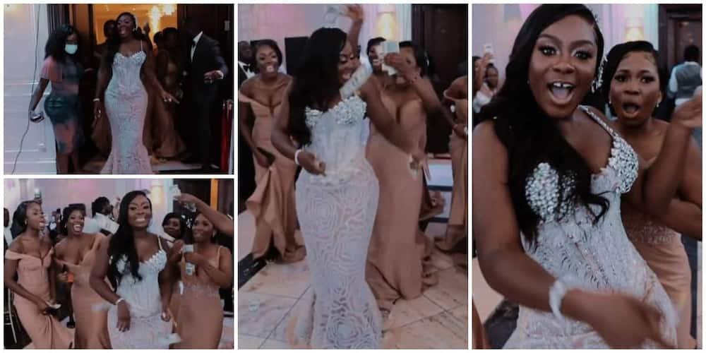 Bride makes majestic entrance into her wedding.