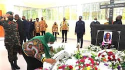 Samia Suluhu Visits John Magufuli's Grave Months After President's Death, Lays Wreath of Flowers