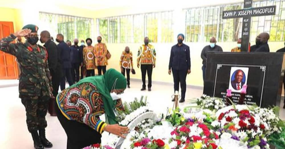 President Samia Suluhu paid homage to late John Magufuli's mausoleum.